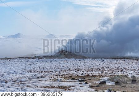 Winter Landscape View Of The Geothermal Region Hverir Near Myvatn Lake In Iceland. A Geothermal Area