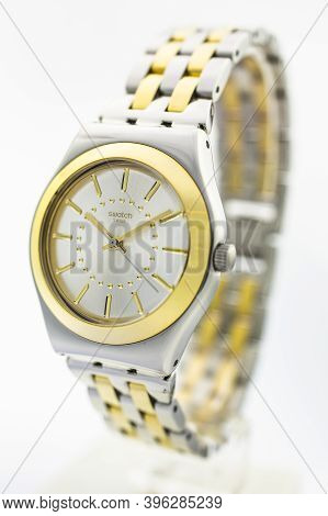 London, Gb 07.10.2020 - Swatch Classic Design Swiss Made Mechanical Watch Close Up. Metal Case And B
