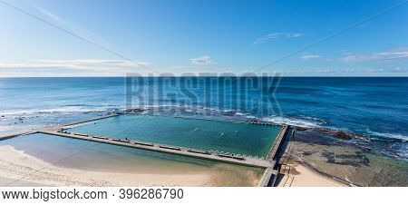 Merewether Ocean Baths Are A Famous Landmark In Coastal City Of Newcastle - Nsw = Australia