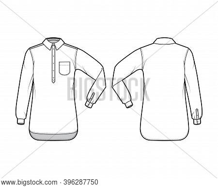 Shirt Pullover Technical Fashion Illustration With Rounded Pocket, Elbow Fold Long Sleeve, Oversized