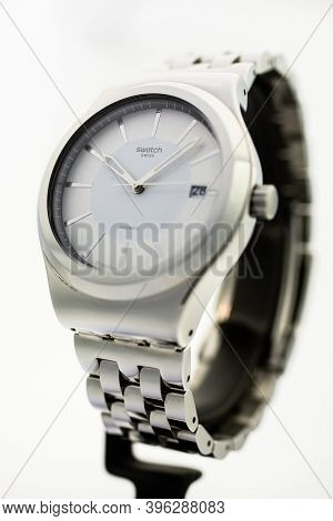 New York, Ny, Usa 07.10.2020 - Swatch Classic Design Swiss Made Mechanical Watch Isolated On White B