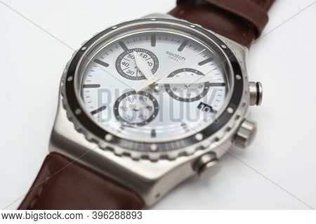 Rome, Italy 07.10.2020 - Swatch Classic Design Swiss Made Mechanical Watch Isolated On White Backgro