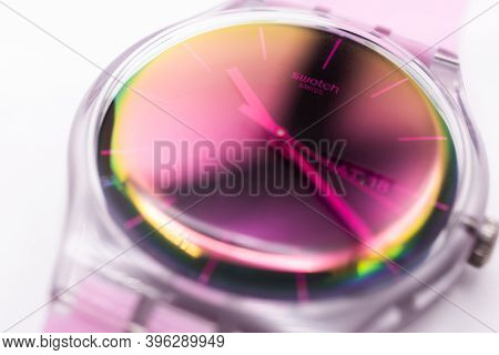 Paris, France 07.10.2020 - Swatch Swiss Made Quartz Watch Isolated On White Backdrop. Transparent Pl