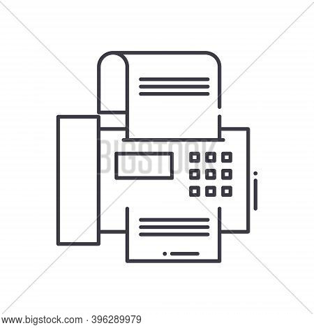 Fax Work Icon, Linear Isolated Illustration, Thin Line Vector, Web Design Sign, Outline Concept Symb