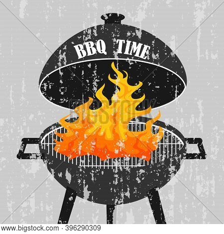 Vintage Poster Of Bbq Grill With Fire. Bbq Time. Vector, Cartoon Illustration. Vector.