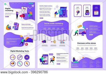 Digital Marketing Flat Landing Page. Social Media Marketing, Promotion And Advertising Corporate Web