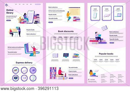 Online Library Flat Landing Page. E-book Reading Service, Online Study Corporate Website Design. Web