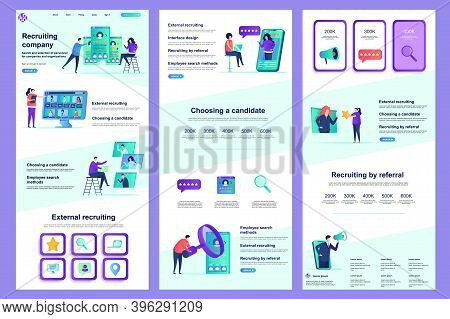 Recruiting Company Flat Landing Page. Hr Management, Headhunting Agency Corporate Website Design. We