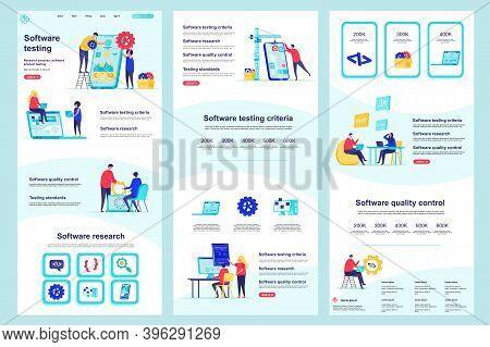 Software Testing Flat Landing Page. Programs Debugging And Optimization Corporate Website Design. We
