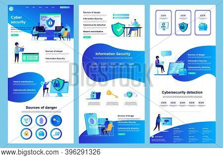Cyber Security Flat Landing Page. Information Security, Data Protection Software Corporate Website D