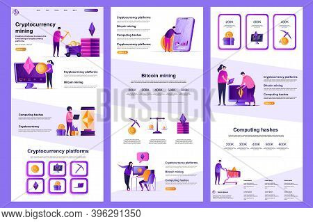 Cryptocurrency Mining Flat Landing Page. Cryptocurrency Platform, Bitcoin Mining Corporate Website D