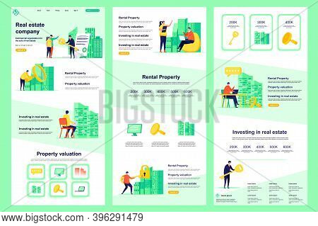 Real Estate Company Flat Landing Page. Rental Property, Buy, Sale And Mortgage Corporate Website Des