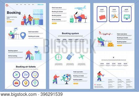 Booking Service Flat Landing Page. Online Air Tickets Booking, Tour Agency Corporate Website Design.