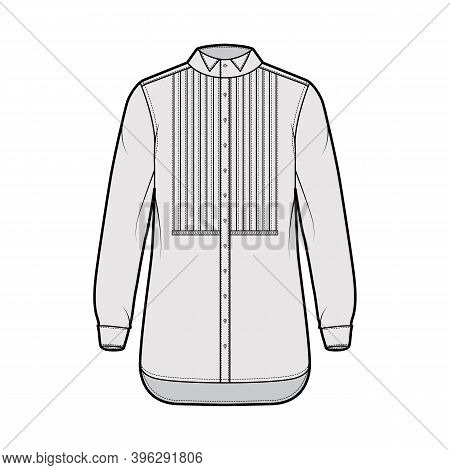Shirt Tuxedo Dress Technical Fashion Illustration With Pleated Pintucked Bib, Long Sleeves With Fren
