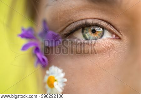 Macro Shot Of Womans Beautiful Eye And Wild Flowers And Daisy On Her Face. Care For Womens Skin. Vis