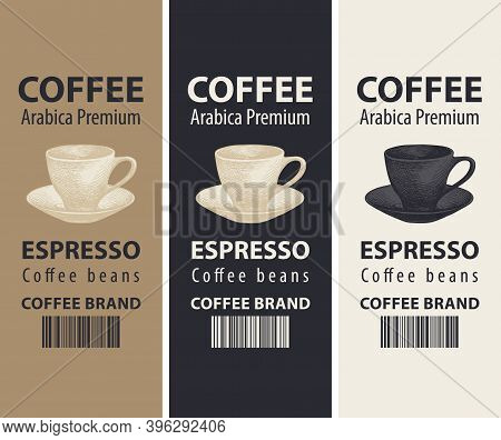 Set Of Three Vector Labels For Coffee Beans In Retro Style On Different Colored Backgrounds. Coffee