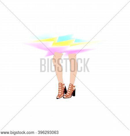 High-heeled Women's Shoes Icon. The Sign Of A Stylish And Fashionable Girl Legs. Vector Symbol For D
