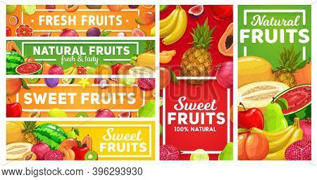 Natural Tropical Fruits Market Banners. Grapefruit, Lemon And Maracuya, Lychee, Fig And Pomegranate,