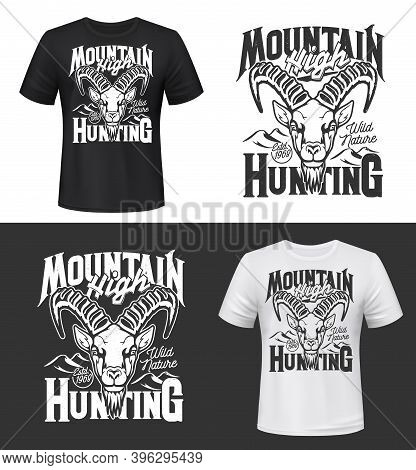 Tshirt Print With Mountain Goat Head Vector Mockup, Ibex Animal Mascot For Hunting Club, Alpine Or S
