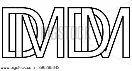 Logo Md Dm Icon Sign Two Interlaced Letters M D, Vector Logo Md Dm First Capital Letters Pattern Alp