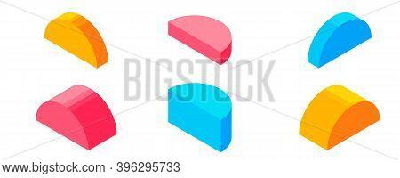Dimension Isometric Retro Puzzle Colorful Vector Game Figures.