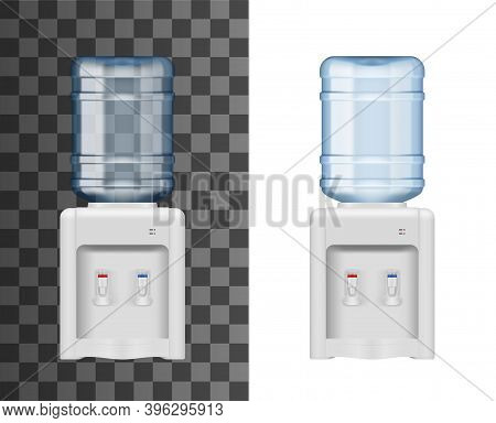 Bottled Water Dispenser Or Cooler Realistic Mockup. Office Cooler Machine With Installed Upside Down