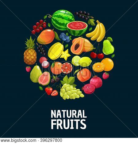 Natural Fruits And Berries Vector Round Banner, Fresh Tropical Pineapple, Banana Or Grapes, Pomegran