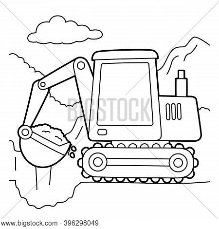 Cute And Funny Coloring Page Of An Excavator. Provides Hours Of Coloring Fun For Children. To Color
