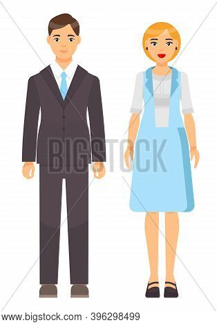Cartoon Characters, Stylish Businesspeople Wearing Office Suits. Businessman In Jacket, Shirt, Tie,