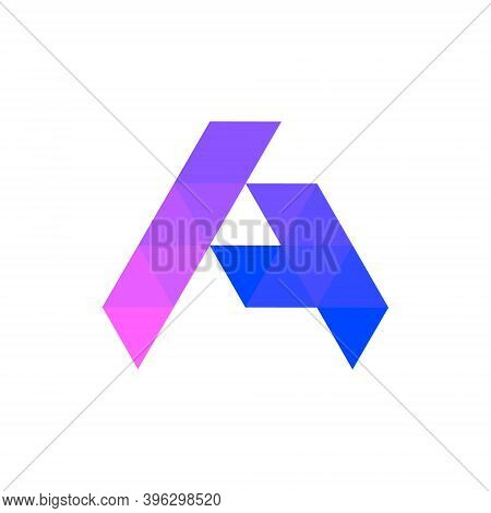 Geometric A And T Letter Logo Mark Icon Design Vector Template