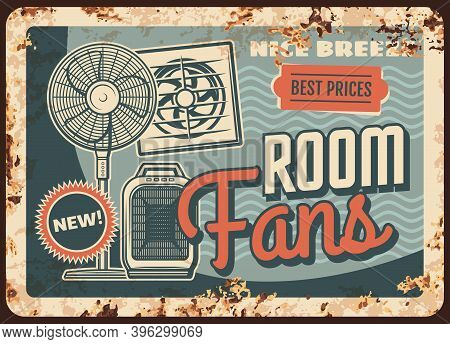 Fans And Heaters, Air Ventilation Metal Plate Rusty Or Vector Retro Poster. Cold And Heat Systems Fo
