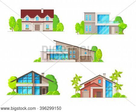 Real Estate Houses, Cottage And Bungalow Buildings Icons. Classic And Modern Architecture Villas, Wo