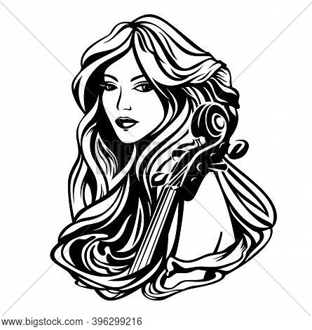 Beautiful Woman With Long Hair And Cello Instrument - Classical Music Muse Black And White Art Nouve