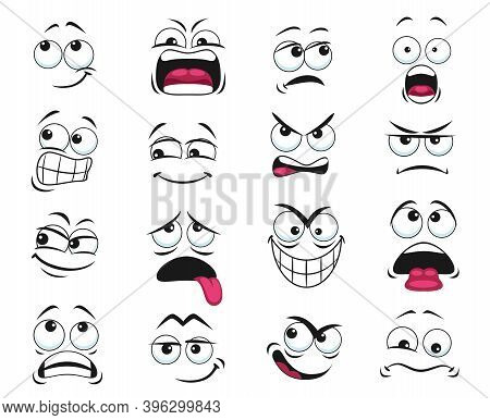Cartoon Face Expression Isolated Vector Icons, Funny Emoji Exhausted, Yelling And Scared, Shocked, A