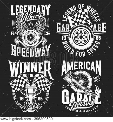 Car Rally Tshirt Prints With Vector Checkered Flag, Vehicle Wheel And Parts, Champion Winner Goblet,