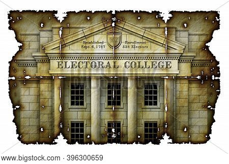 Electoral College System Presented As A Real Physical College Building On Antique Parchment. 3d Illu