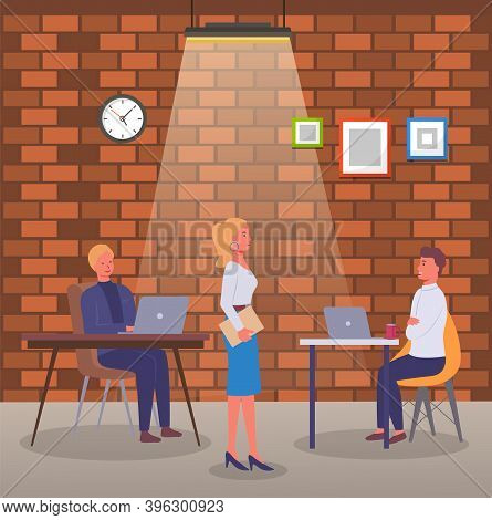 People Working In Office Sitting At Tables. Colleagues, Designers Or Co-workers Using Laptops And Wo