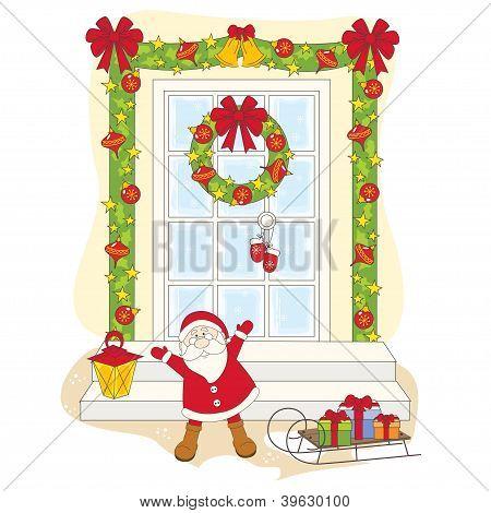 Santa greeting you a Merry Christmas.
