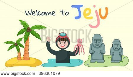 Banner With Image Of The Main Attraction Of The South Korean Island Jeju And The Inscription. Stone