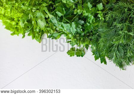 Green Vegetables. Green Fruits And Vegetables On A White Background. Apples, Parsley, Spinach, Arugu