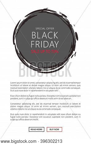 Black Friday Total Sale Mega Offer. Round Sticker Icon With Sketch Frame. Save Up To 70 Percent Vect