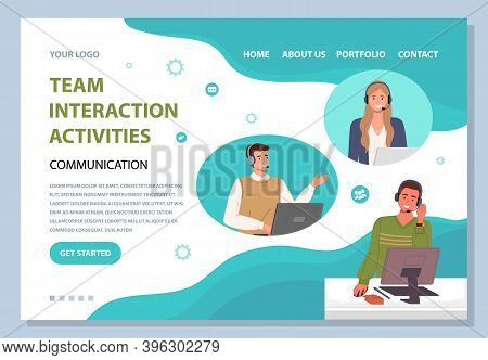 Landing Page Of Website. Team Interaction Activities, Communication. Colleagues With Headsets Talkin