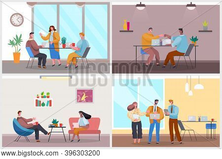 Office Life, Office Workers Discussing Project, Startup, Business Meeting, Conference, Good Work, Hi