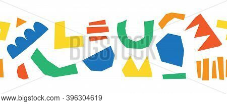 Abstract Cut Out Shapes Seamless Vector Border. Seamless Horizontal Pattern Organic Hand Paper Cutti