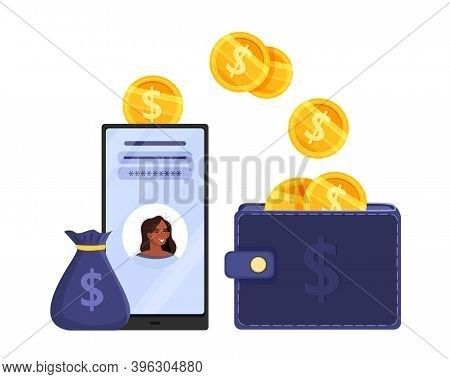 Online Wallet Or Digital Payment Vector Concept With Smartphone, Finance App, Dollar Coins, Money Ba