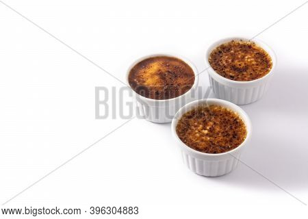 Homemade Creme Brulee In Bowl Isolated On White Background.copy Space