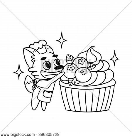 Cute Fox Confectioner Decorates Blueberry Cupcake. Great Illustration For The Coloring Book Or Page