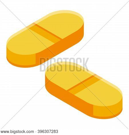 Sport Nutrition Pills Icon. Isometric Of Sport Nutrition Pills Vector Icon For Web Design Isolated O