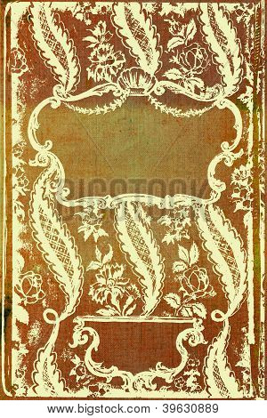 Elegant Vintage Border Frame: Abstract Textured Brown Background With Yellow Flower-like Patterns