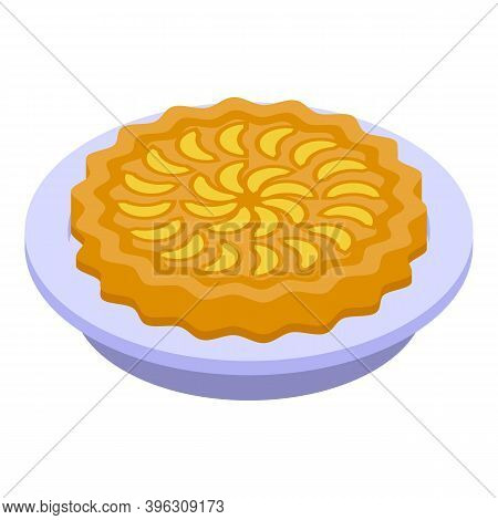 Cooked Apple Pie Icon. Isometric Of Cooked Apple Pie Vector Icon For Web Design Isolated On White Ba